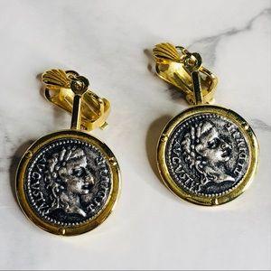 Faux Roman Coin Drop Clip On Earrings - 2 Tone